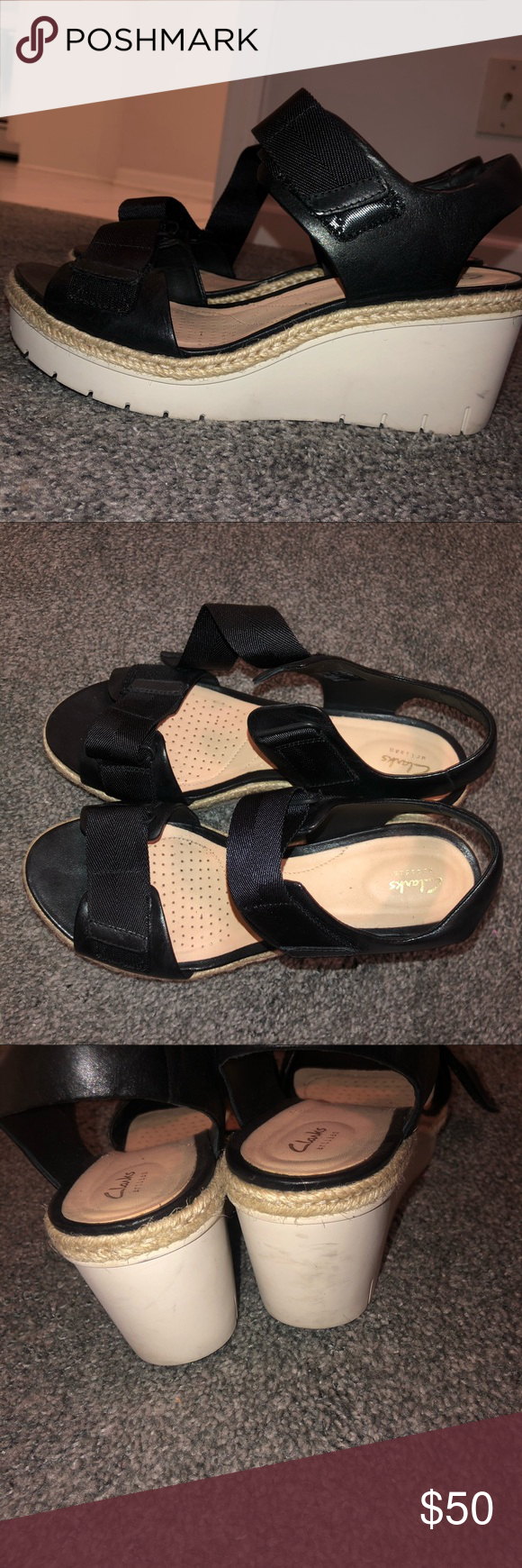 Clarks Leather Wedges Clarks Black Leather Wedges Rubber Sole Esparto Rope Around The Middle Adjustable Velcro Strap On Bottom And In 2020 Leather Wedges Clarks Womens Shoes Wedges