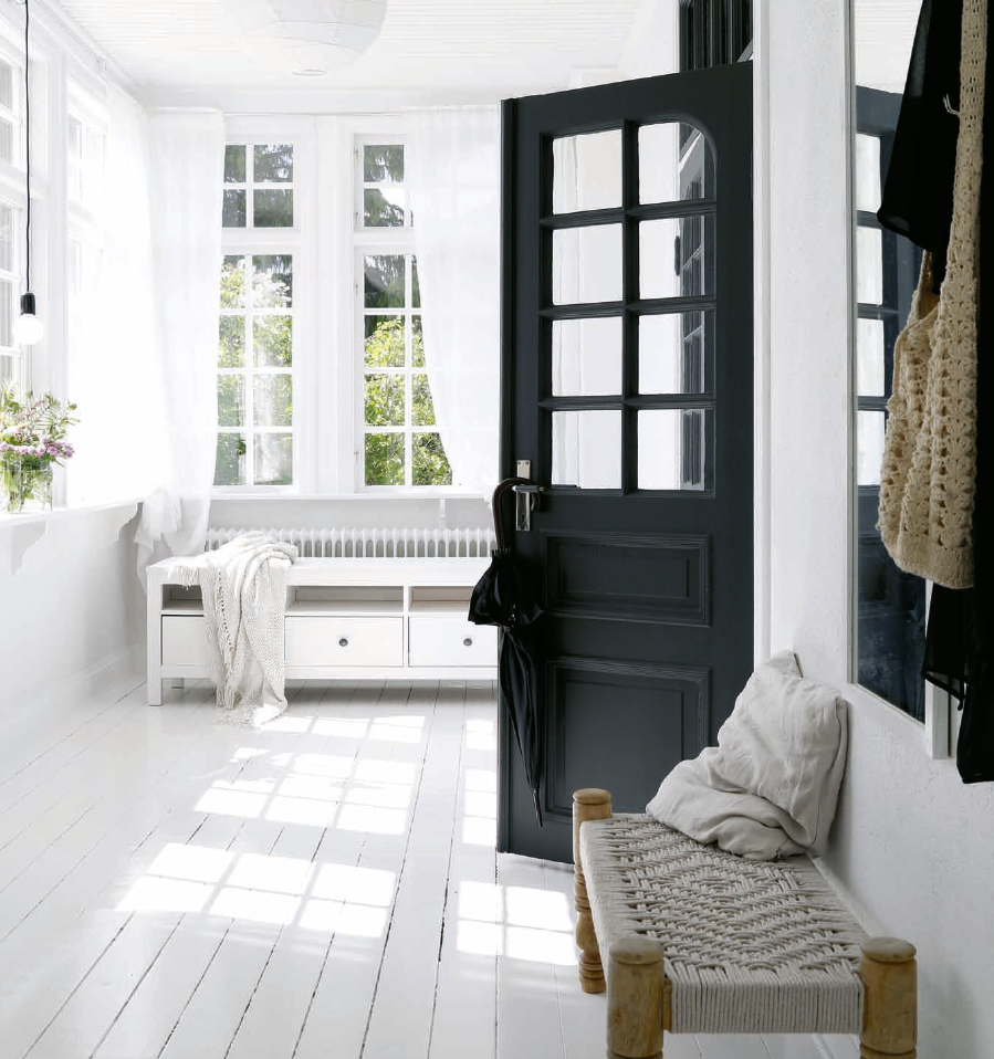 white double front door. All White Entryway With Black Door Double Front F