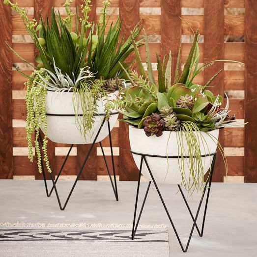 Iris Planter + Chevron Stand | west elm | patio | Pinterest ...