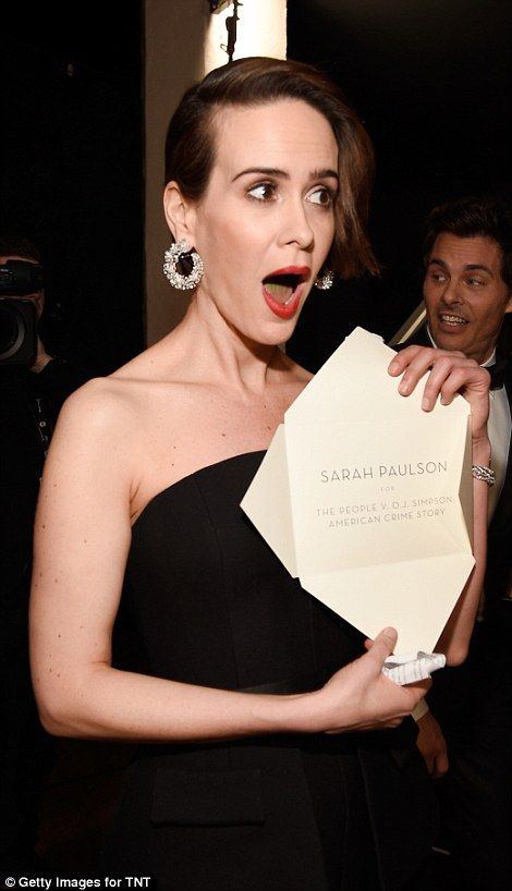 Worthy winner: Sarah Paulson was in her element as she accepted her trophy...