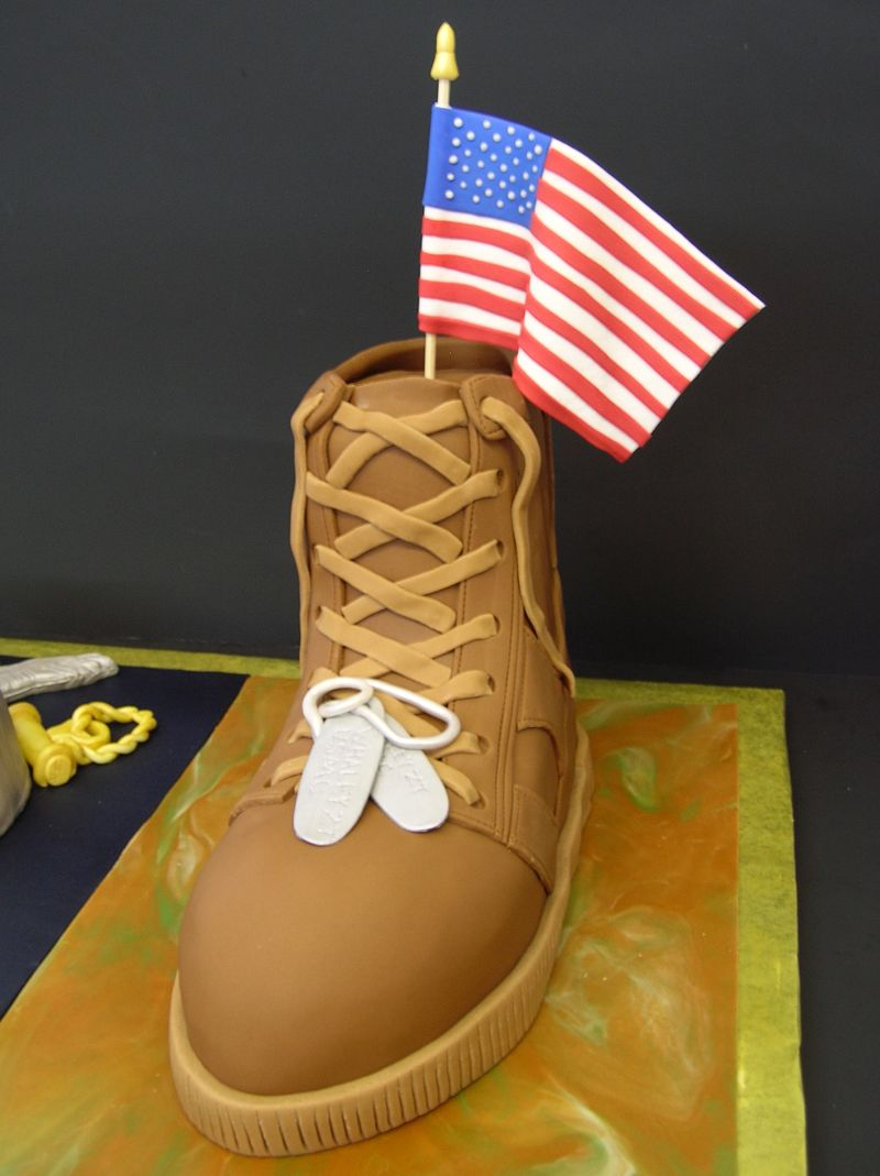 Military Uniform Boot Cake Have My Cake Amp Eat It Too