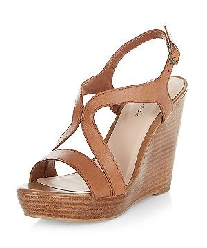 197f6229ee7 Tan Leather Strappy Wedge Sandals