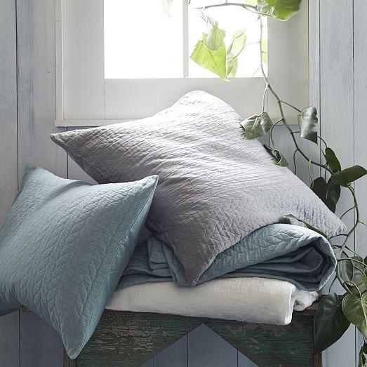 Organic Braided Matelasse Shams Stone White Duvet Covers