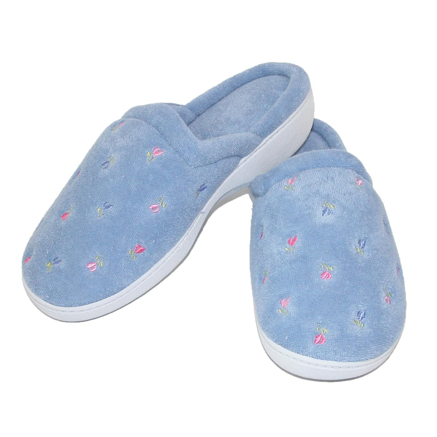 0baba74eeb2115 These embroidered clog slippers feature totes ISOTONER exclusive Secret Sole.  Comfort design supports the contours of your feet with a specially molded  arch ...