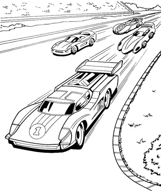 Four Car Hot Wheels Speeding Coloring Page Race car party - best of crayola mini coloring pages cars