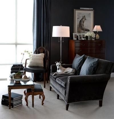 Gray Velvet Sofa, Luxe. Living Rooms   Gray Couch Nailhead Trim Floor Lamp  Blue Silk Drapes Blue Walls Tables Angus Fergusson Photography Gorgeous Gray  ...