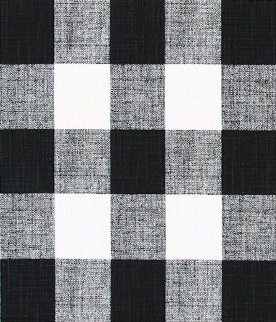 Black And White Buffalo Check Fabric By The Yard Designer Plaid Slub Cotton Drapery Curtain Or Upholstery Fabric Black White Plaid M328 Check Fabric Black White Fabric Printing On Fabric