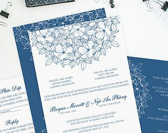 Printable Bilingual Vietnamese Wedding Par InvitationsByTiffany - Wedding invitation templates: vietnamese wedding invitation template