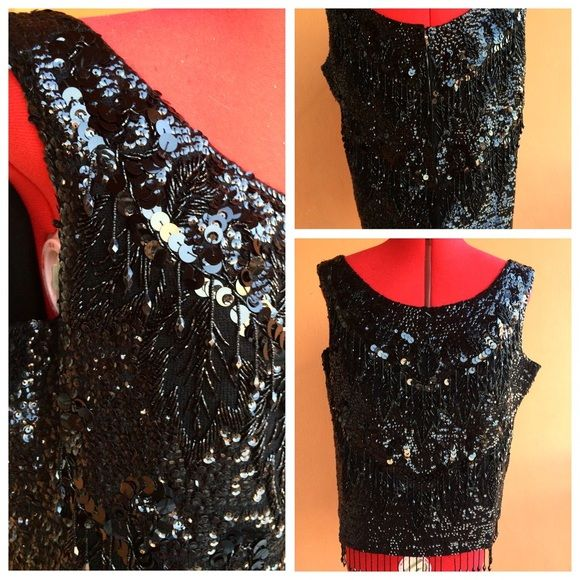 100% wool sequined top Fully beaded and sequined top. Vintage. Functioning zipper in the back Tops Blouses