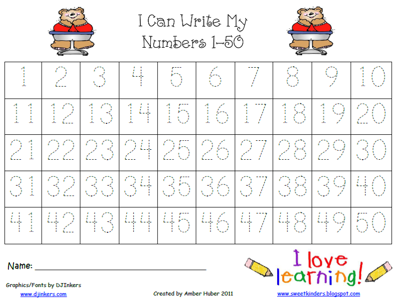 Tracing+Numbers+1+50 Tracing worksheets, Number tracing