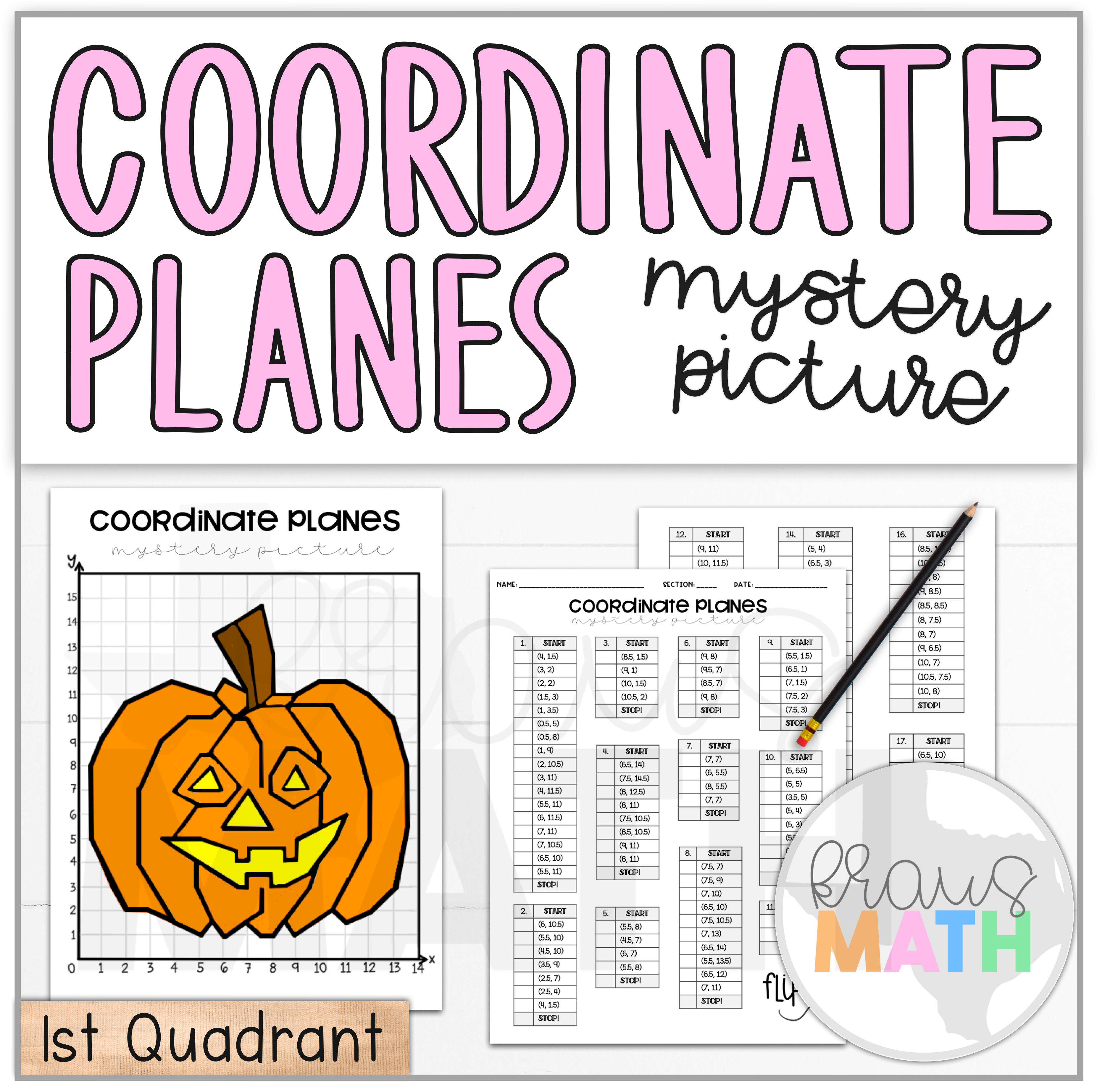 Halloween Pumpkin Coordinate Plane Mystery Picture 1st