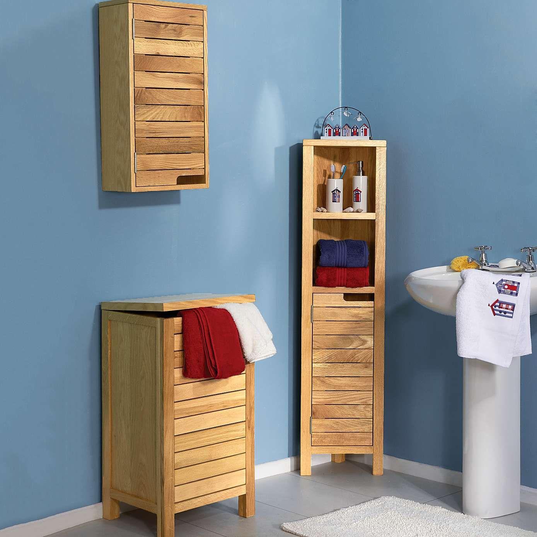 Dunelm bathroom furniture - Milan Oak Slatted Tall Corner Unit Dunelm Oak Bathroom Furniturebathroom
