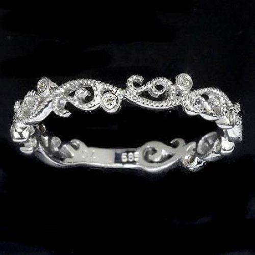 Diamond art wedding band vintage estate white gold ring Diamond
