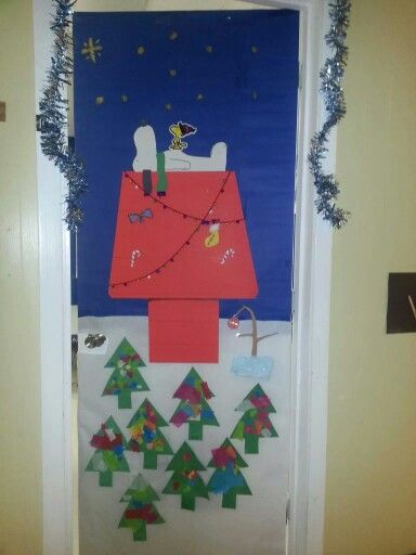Classroom Decoration Ideas For Xbox ~ Snoopy christmas door decoration classroom art