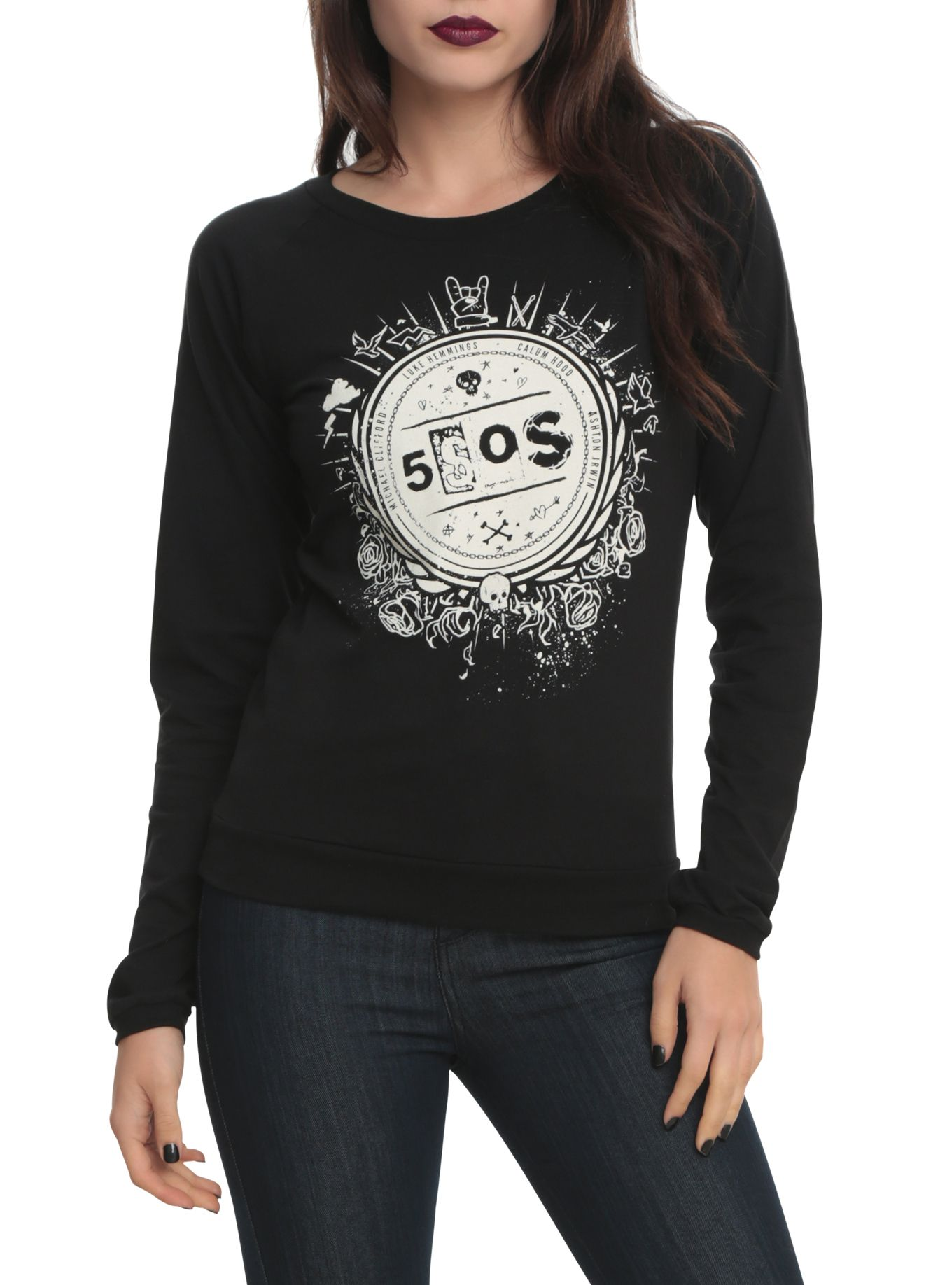 5 Seconds Of Summer Crest Girls Pullover Top Wear Me Out 5