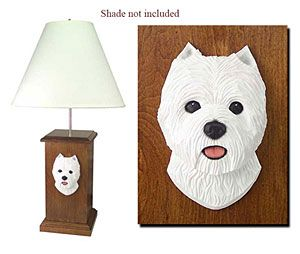 West Highland White Terrier (Westie) Lamp.  Hand Made and Stained in USA by the famous Michale Parks the Wood Carver.  (LIMITED TIME ONLY)  Use this code BARKPURR to receive 10% Off this Stylish Lamp.