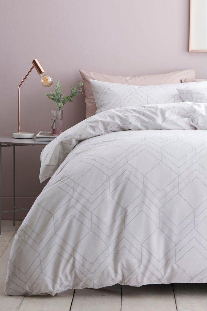 Next 2 Pack Geo Lines Duvet Cover And Pillowcase Set Grey Bedding Sets Gray Duvet Cover Duvet Covers