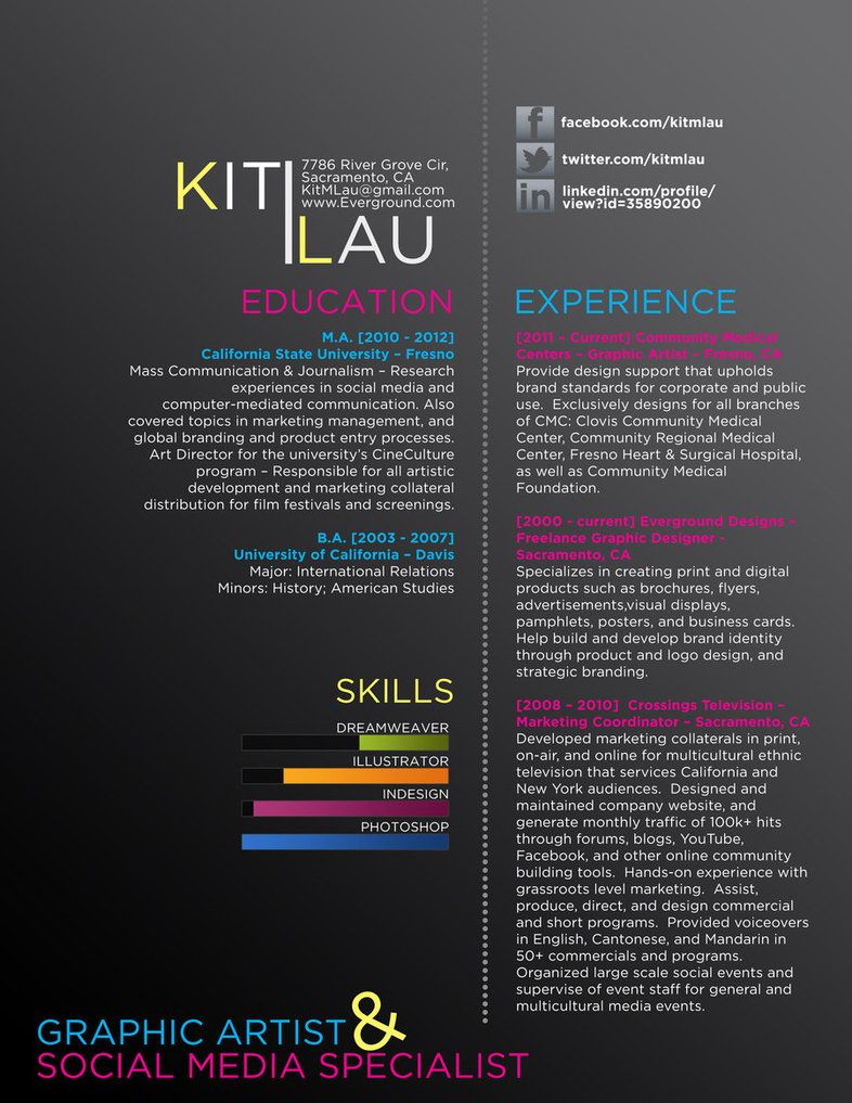 Creative Graphic Design Resumes Creative Graphic Resume Cv