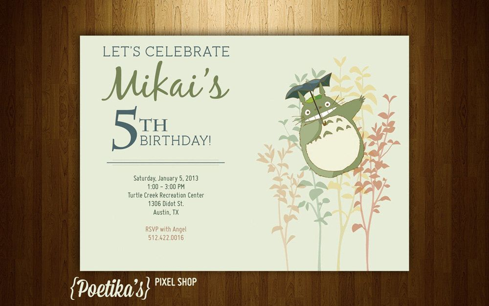 Totoro nature birthday invitation for boy and girl digital party totoro nature birthday invitation for boy and girl digital party 700 via etsy stopboris Gallery