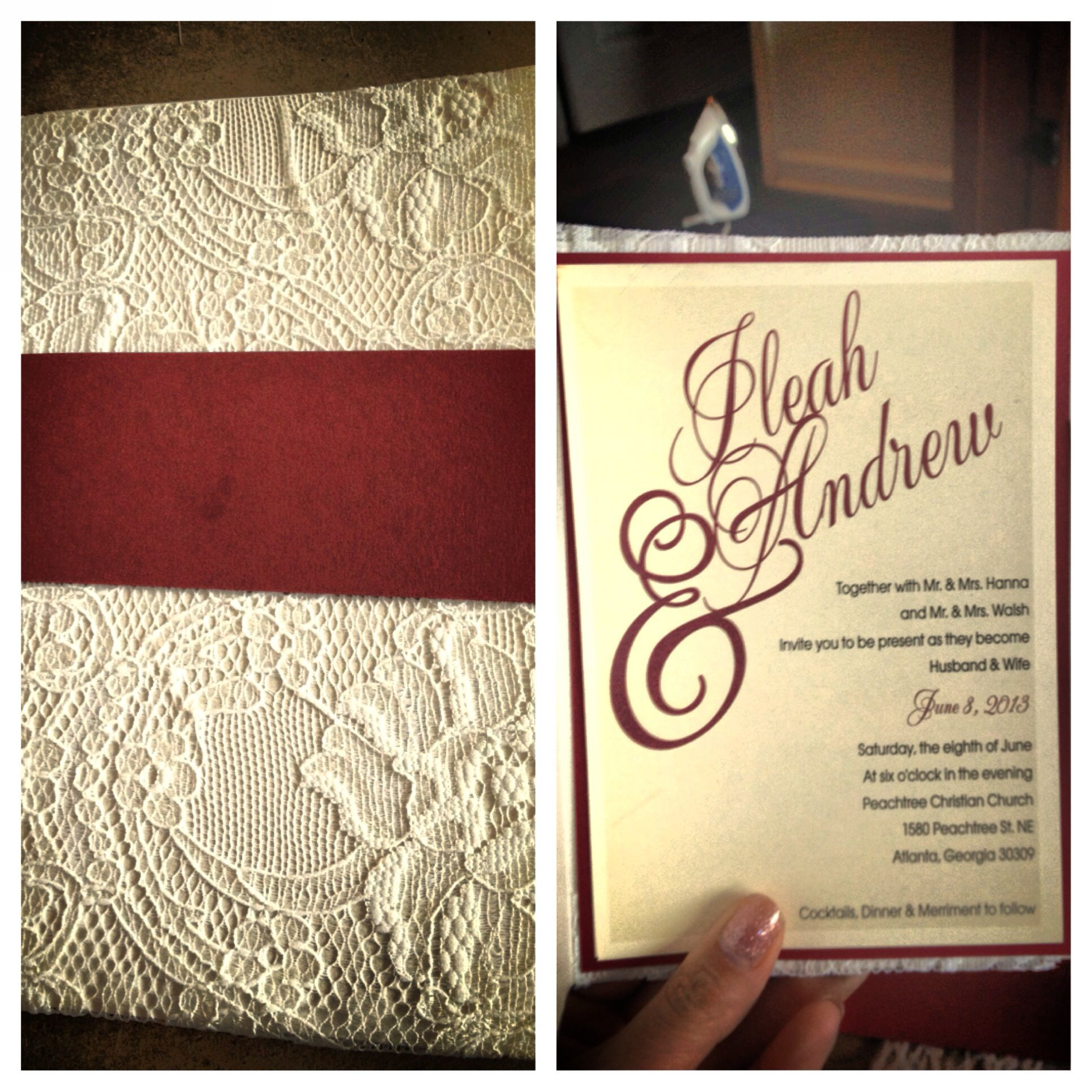 DIY lace invitation (I made this using pocket fold 5x7, 5 inch wide ...
