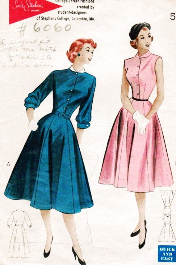 vintage 1952 butterick 6060 sewing pattern teens quick casual ...