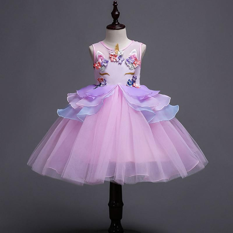 2 10yrs Kids Unicorn Dress For Girls Embroidery Flower Ball Gown Baby Girl Princess Dresses Fo Handmade Girls Dress Girls Ball Gown Little Girl Pageant Dresses