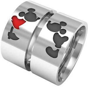 Mickey And Minnie Mouse Couples Ring Set Pretend Jewelry Box