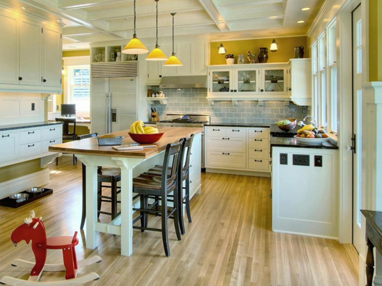 Perfect For An Active All American Family The Kitchen Island Doubles As Breakfast
