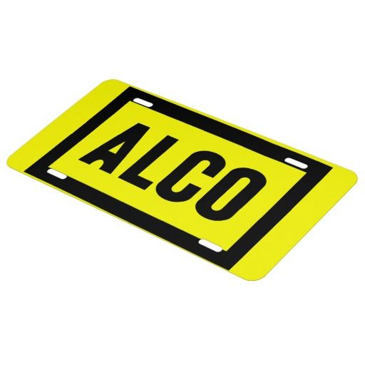 ALCO-Powered by Alco Locomotive Company License Plate - $27.95-Express yourself with a custom front license plate to match your vanity plate! Create your designs from scratch or customize it with your images or text for a vibrantly printed license plate that will stand out. Made with aluminum, these plates are water-resistant and appropriate for operational use in states that do not require 2 plates.