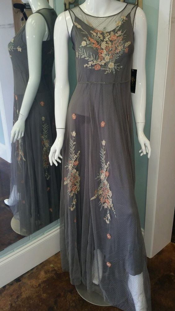 Best Biya By Johnny Was Gray Grey Long Mesh Embroidered Dress 400 x 300