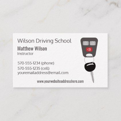 Driving School Instructor Car Keys Business Card Zazzle Com Driving School Business Template Illustration Business Cards