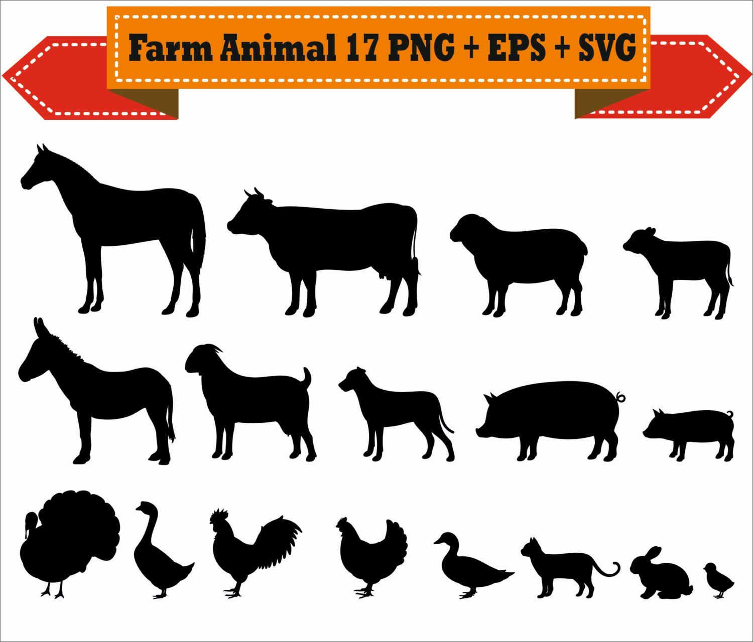 Farm Animal Chicken Duck Dog Cat Pig Horse Silhouette Vector Etsy In 2021 Horse Silhouette Pet Chickens Animal Silhouette