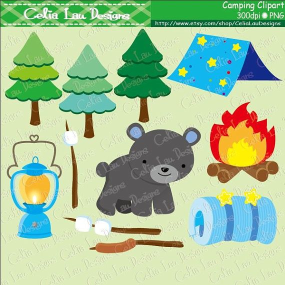 Boy Camping Party Camp Out And Forest Animal Clip Art Clipart Glamping Digital Paper Set CG149