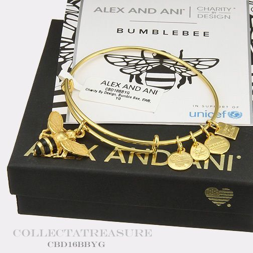 Authentic Alex And Ani Ble Bee Unicef Yellow Gold Bangle Alexandani
