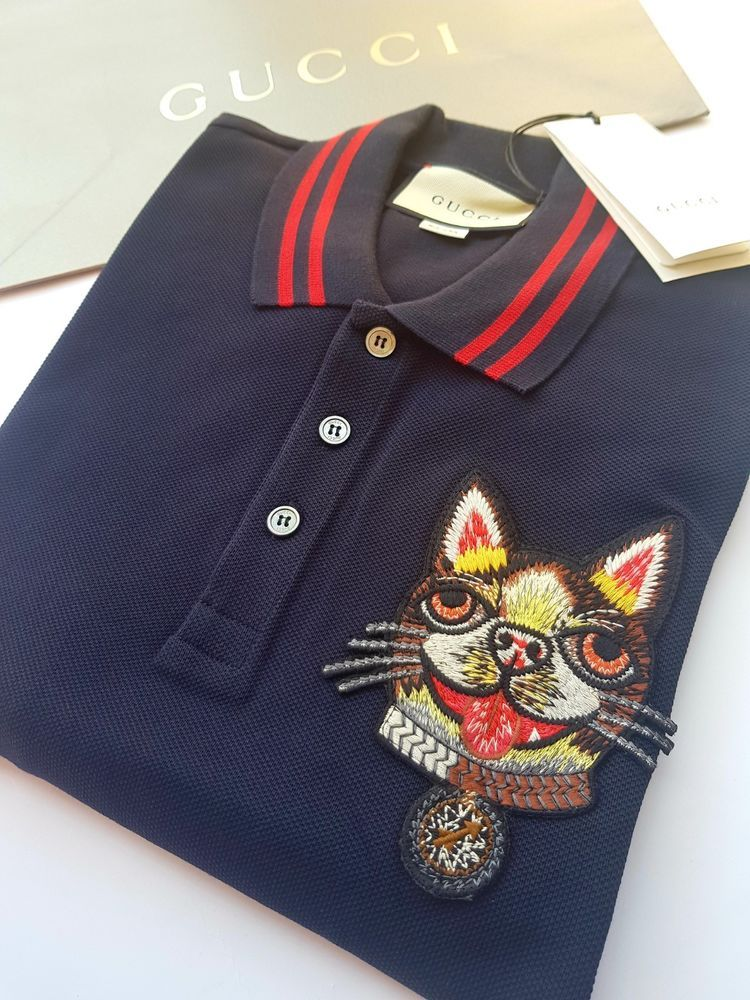3a286516d NWT Original GUCCI Dog Patch Men's Polo T Shirt Animal Embroidery #fashion  #clothing #shoes #accessories #mensclothing #shirts (ebay link)