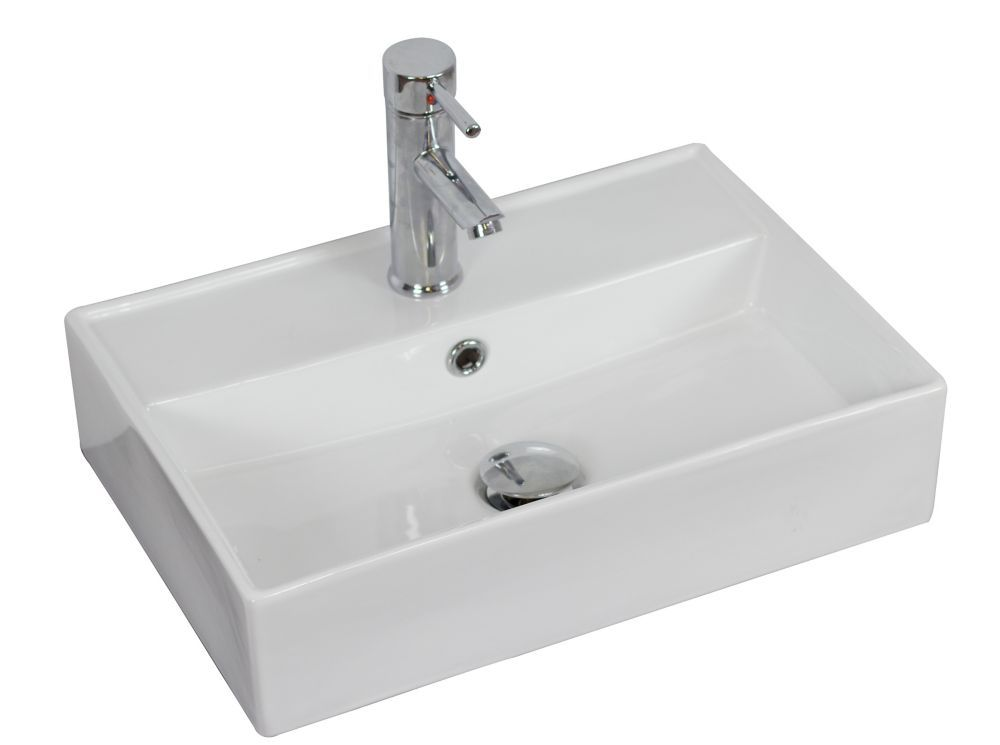 20 Inch W X 14 Inch D Rectangular Vessel Sink In White With Chrome Wall Mounted Bathroom Sinks Rectangular Vessel Sink Sink