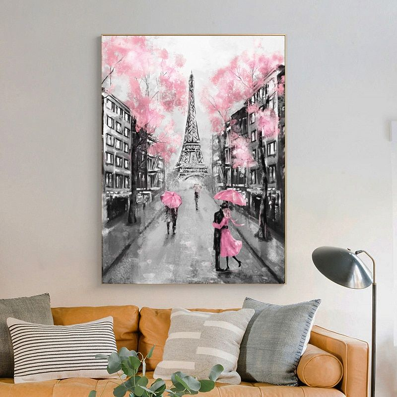 Romantic City Lovers Paris Eiffel Tower Landscape Hd Print Abstract Oil Painting On Canvas Wall Art Living Room Sofa Home Decor Canvas Art Wall Decor Love Wall Art Canvas Wall Art