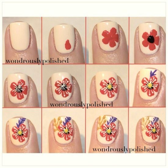 Flowers Nail Art Tutorial Nails Step By Step Design Pinterest