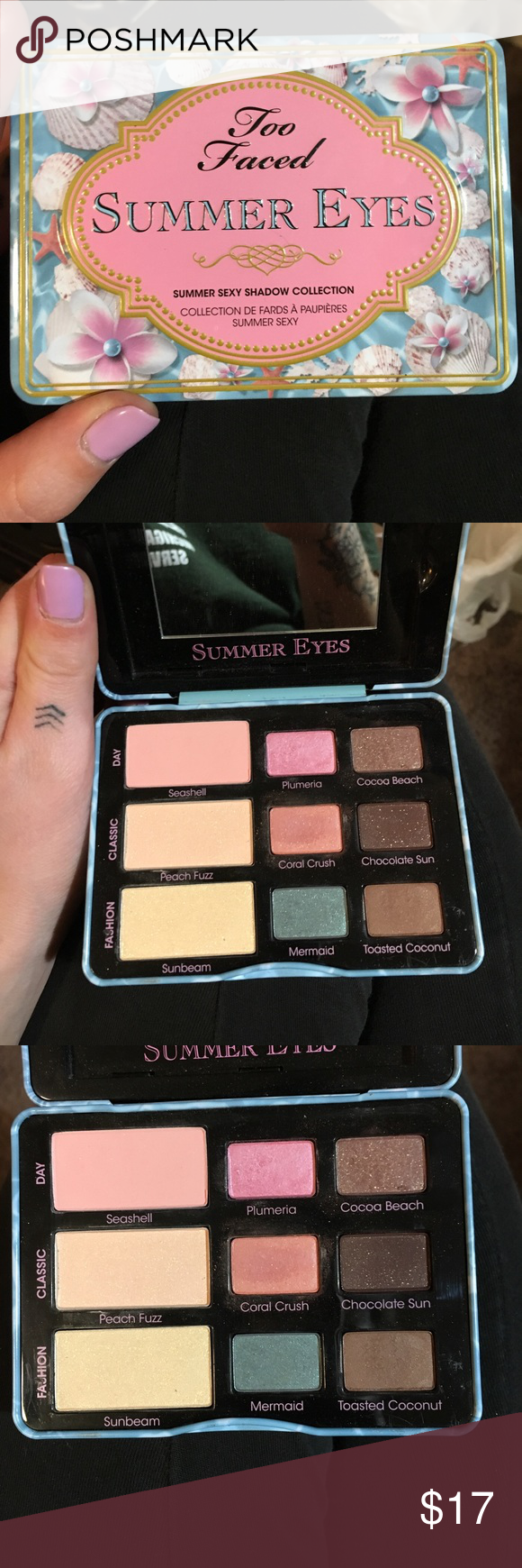 Too faced summer eyes pallet Super pretty! Used a few times. I just have sooo many eyeshadow pallets, I need to downsize! Too Faced Makeup Eyeshadow