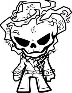 How To Draw Chibi Ghost Rider Step 9 Ghost Rider Tattoo Coloring Pages Ghost Rider Drawing