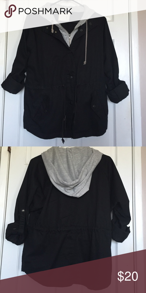 Forever 21 Hooded Utility Jacket I have worn this a lot but it's still in very good condition. It zips up and can be buttoned. The tag says Life in Progress but it was purchased at F21. It's a size medium but fits a small pretty well. The sleeves have be rolled up for a cute 3/4 sleeve look or let down. Forever 21 Jackets & Coats Utility Jackets