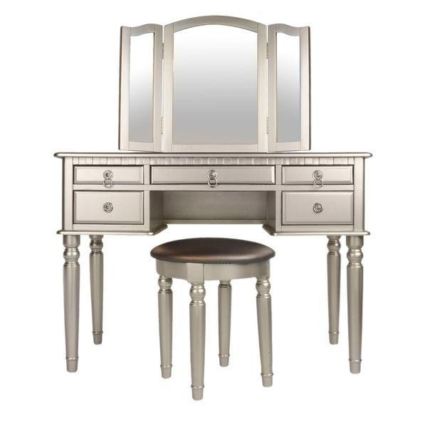 Bobkona St Croix Rubberwood Veneer 3 Fold Mirror Vanity