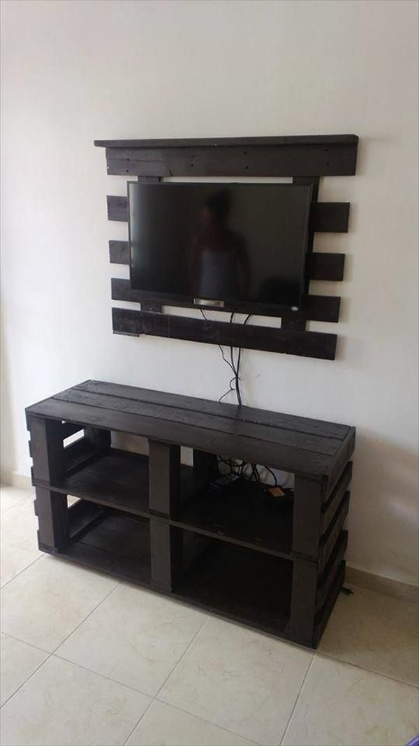 DIY Pallet Media Console and TV stand | Madera, Palets y Caja de madera