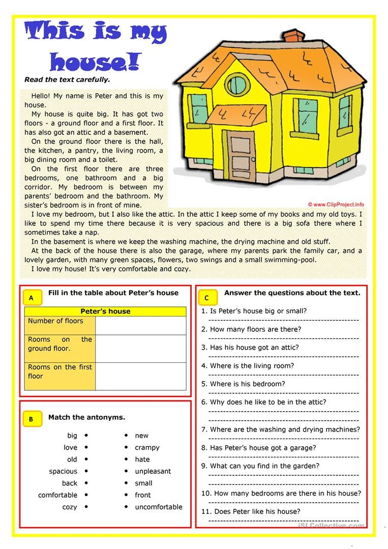 This is my house worksheet - Free ESL printable worksheets made by teachers    Comprehension exercises [ 1079 x 763 Pixel ]