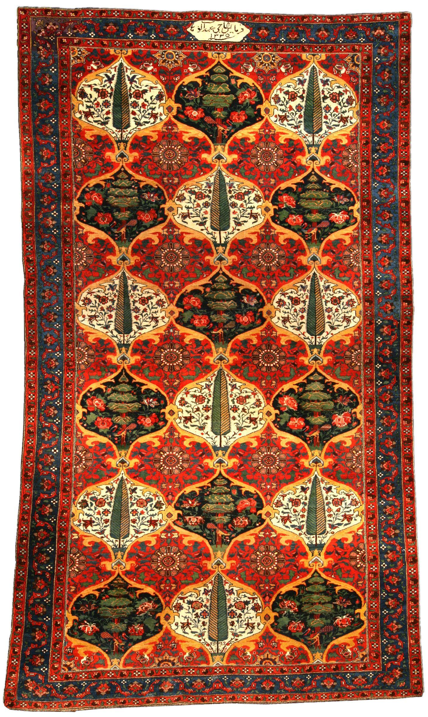 Antique Persian Bakhtiari Carpet Bb3460 Floral Motif And