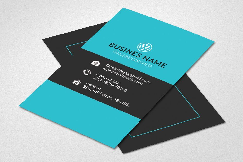 Blue vertical business card by Psd Templates on