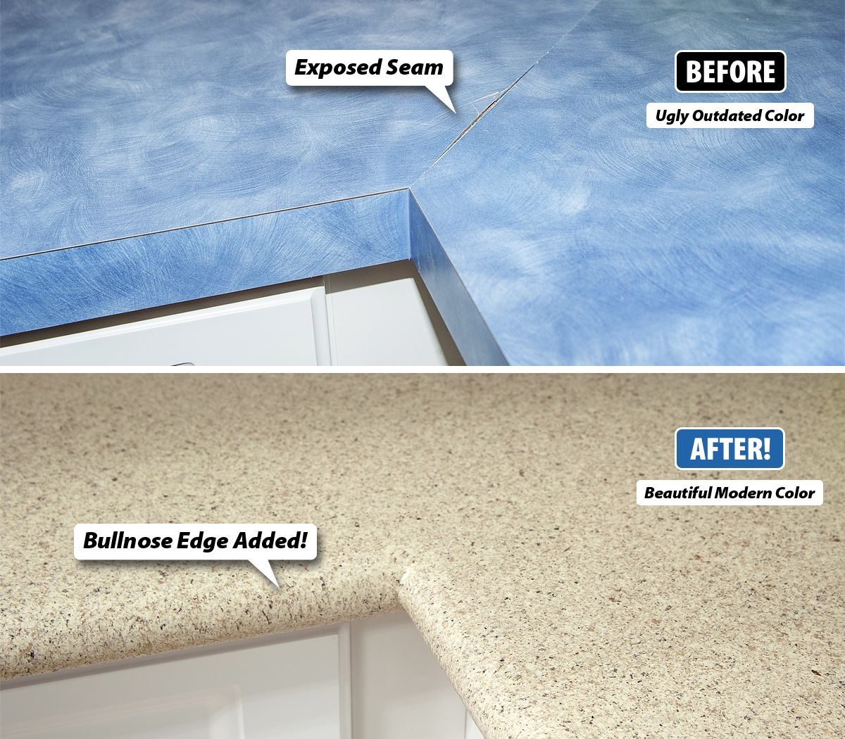Laminate countertops scratch easily, can crack around the seams ...