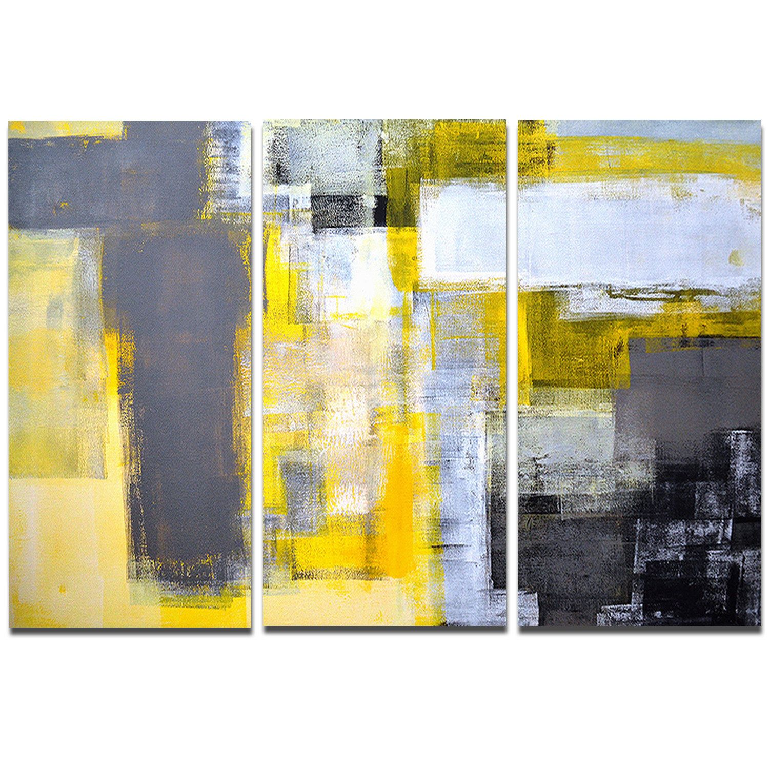 Designart \'Grey and Yellow Blur Abstract\' Abstract Metal Wall Art ...