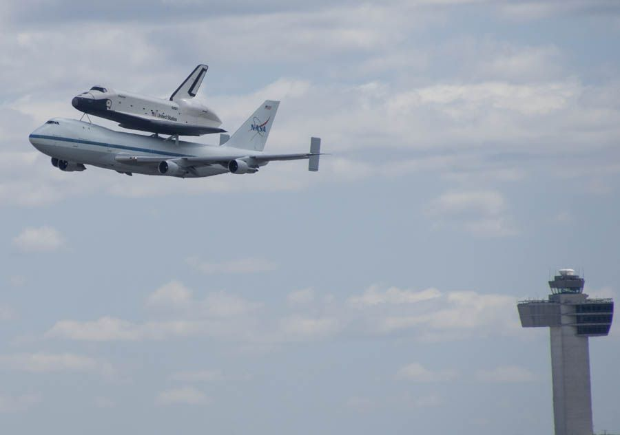 Space Shuttle buzzing the tower at JFK Airport.