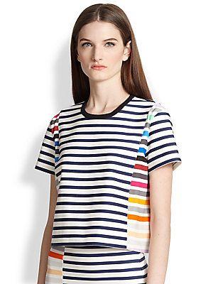 Tanya+Taylor Bora+Stripe+Boxy+Top